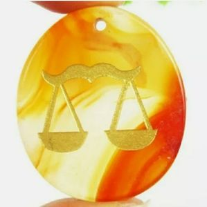 Libra red onxy agate stone pendent necklace